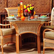 spice island wicker dining table with glass top hayneedle