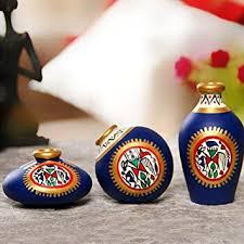 buy exclusivelane terracotta warli handpainted pots blue set of 3