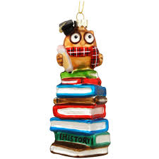 wise owl on stack of books glass ornament novelty nostalgia