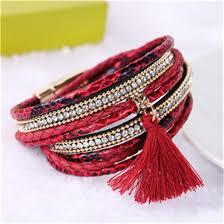 leather bracelet styles images Fashion multi layer leather bracelet handmade woven tassel jpg