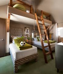 transitional kids loft with loft ladder bedroom beach style and