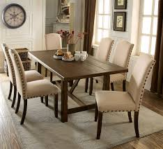 table transitional set 7 pieces rustic walnut finish dining table