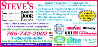 Overhead Door Hours Steve S Overhead Door Company Lafayette In 47904 Yellowbook