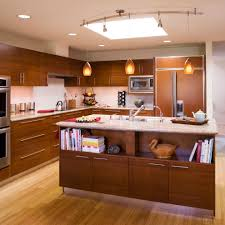 monorail lighting kitchen contemporary with dining area hardwood