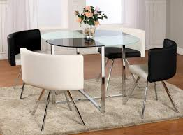Glass Dining Room Furniture Sets Excellent Round Glass Dining Room Table With Polished Chrome