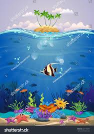 beautiful marine life various types coral stock vector 721105939