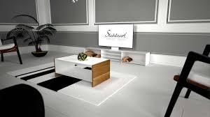 Wohnzimmer Weis Holz Couchtisch Holz Eiche Massivholz Modern Weiß Metall Straight