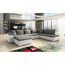 canapé convertible gris et blanc canapé d angle panoramique alia en u contemporain 6 à 7 places
