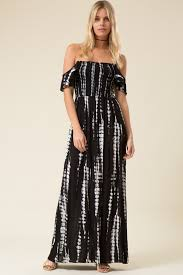 off shoulder smocked bodice tie dye print maxi dress critique
