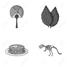 cuisine et voyage voyage cuisine et autre icône monochrome dans style
