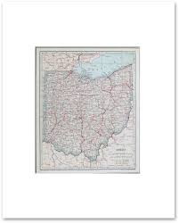 Map Ohio State by States N R Vintage Maps