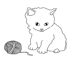 kitten outline coloring page kids coloring