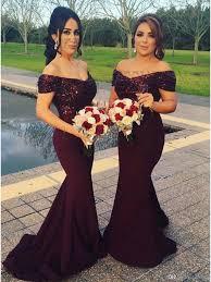 burgundy bridesmaid dresses buy mermaid the shoulder sweep burgundy bridesmaid dress