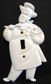 vintage 1950s plastic chef kitchen wall light switch cover plate