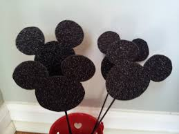 Mickey Mouse Topiary 6 Mickey Mouse Glitter Head Centerpieces Party Decorations