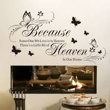 wall decal sticker because heaven butterfly english quotes home wall decal sticker because heaven butterfly english quotes home decoration vinyl