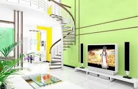 living room stairs and green wall for villa living room modern