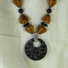 bead necklace with pendant images Brown handmade kazuri bead pendant necklace chunky fair trade jpg
