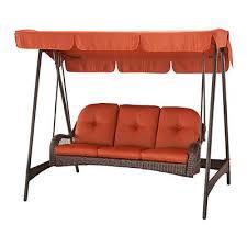 wicker porch swing canopy cover 3 person orange cushion patio