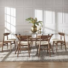glass table tops online nadine walnut finish glass table top rectangular dining set curved