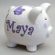 monogrammed piggy bank large lavender butterfly piggy bank is a popular design for baby