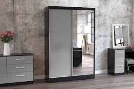 Sliding Mirror Wardrobe Birlea Lynx 2 Door Sliding High Gloss Wardrobe With Mirror Black