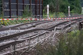 Baden Baden Linie Ortenau Nach Einem Erdrutsch Unter Den Gleisen Bei Rastatt