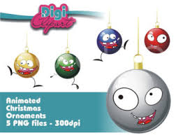 Animated Christmas Ornaments Clipart by Animated Face Etsy