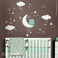 Nursery Owl Wall Decals Owl Wall Decal Owl Wall Sticker Moon Clouds