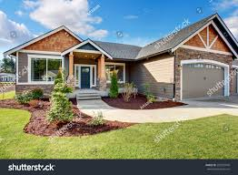 siding house large modern house walkway lots grass stock photo 295207949