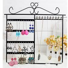earring necklace jewelry display images High quality 48 hole earrings necklace jewelry display metal stand jpg