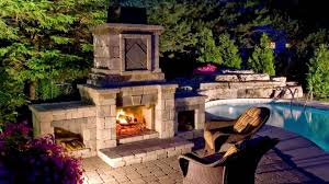 Nice Backyard Ideas by Decor Entertaining Outdoors With Lovable Unilock Fireplace In