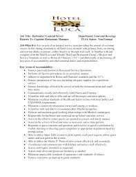 Sample Resume Job Descriptions by Sample Resume For Cocktail Waitress Job Position