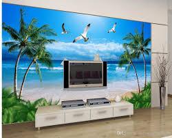 Wallpaper For Living Room Luxury European Modern Seaside Coconut Beach Sailing Seagull Tv