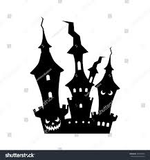 black and white halloween background silhouette cartoon castle silhouette vector illustration halloween stock