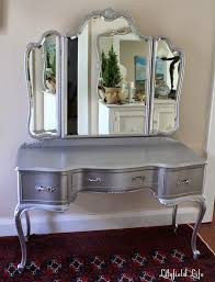Folding Vanity Table Grey Steel Dressing Table Drawer And Folding Mirror With