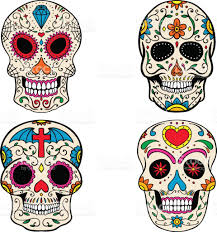 Day Of The Dead White Set Of Sugar Skulls Isolated On White Background Day Of The Dead