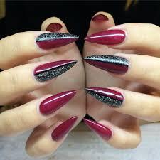 purple and blue stiletto nail art design idea