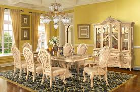 antique formal dining room sets for 8 yellow stained wall classic