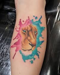 watercolor lioness tattoo tattoos watercolor lion watercolr 3d