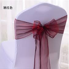 bows for wedding chairs 100pcs new organza fabric burgundy chair sashes bow wedding and