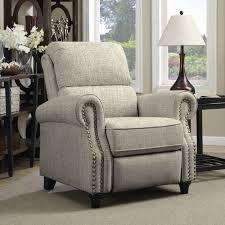 living room recliner chairs prolounger barley tan linen push back recliner chair wall hugger