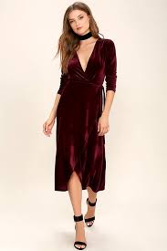 velvet dress stunning burgundy dress velvet dress wrap dress midi dress
