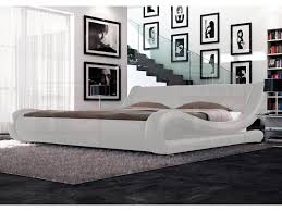 curved bed frame queen size pu leather bed frame leonardo collection white for