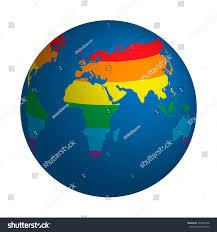 World Map Globe by Globe Symbol Lgbt Rainbow Colored World Stock Vector 542284396