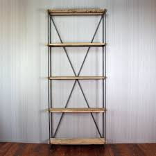 wrought iron shelf and reclaimed wood bookcase u2014 doherty house
