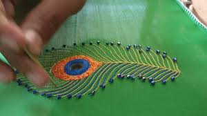 peacock feather design mirror and thread stitch
