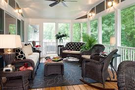 semi outdoor country modern family rooms with rattan armchairs and