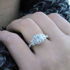 gabriel and co engagement rings liana 14k white gold 3 stones halo engagement ring