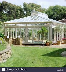large glass conservatory housing indoor swimming pool stock photo